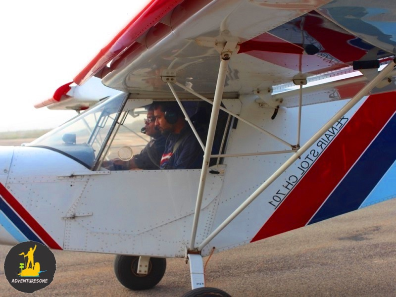 Pilot and the participant in the microlight