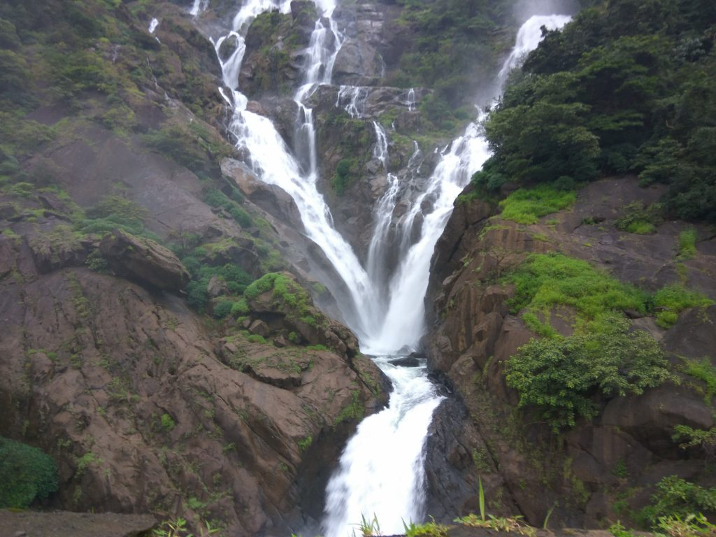 The Dudhsagar waterfalls