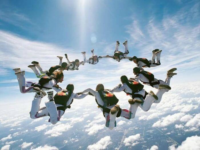 group of people skydiving