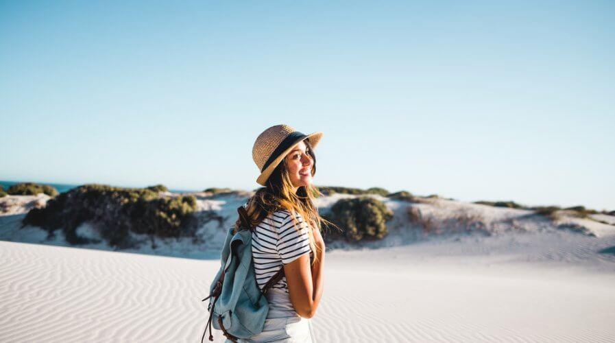 happy women traveling solo