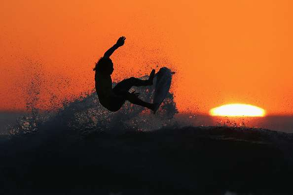 sunset surfing in india