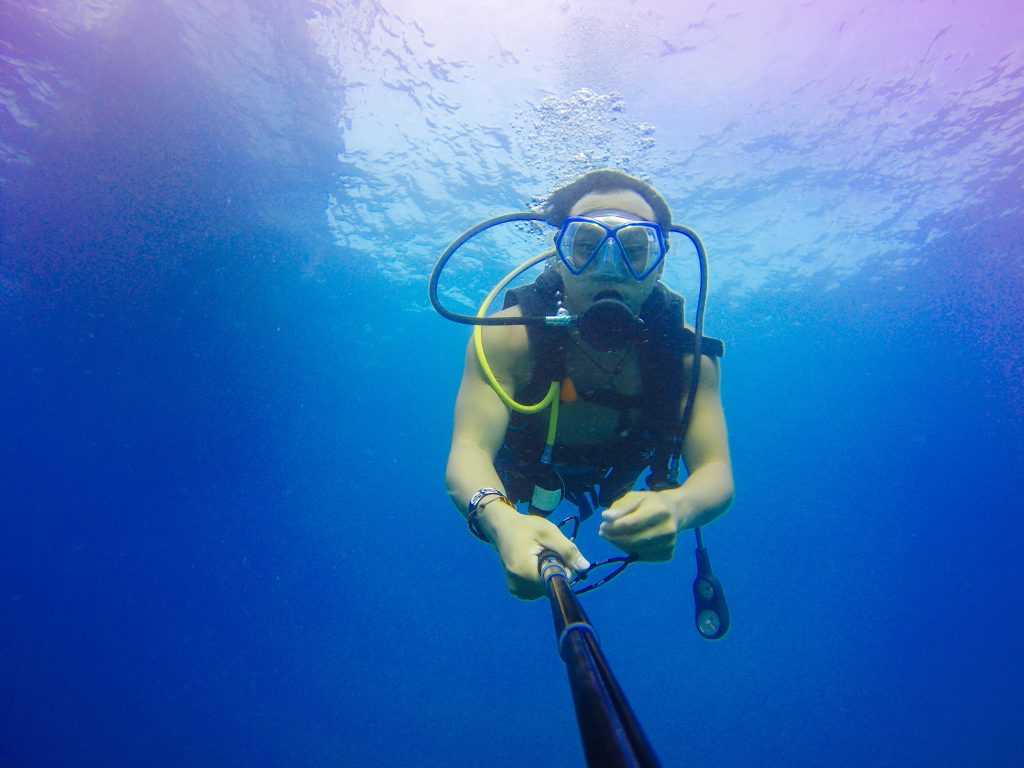 taking a selfie while Scuba Diving in Andamans