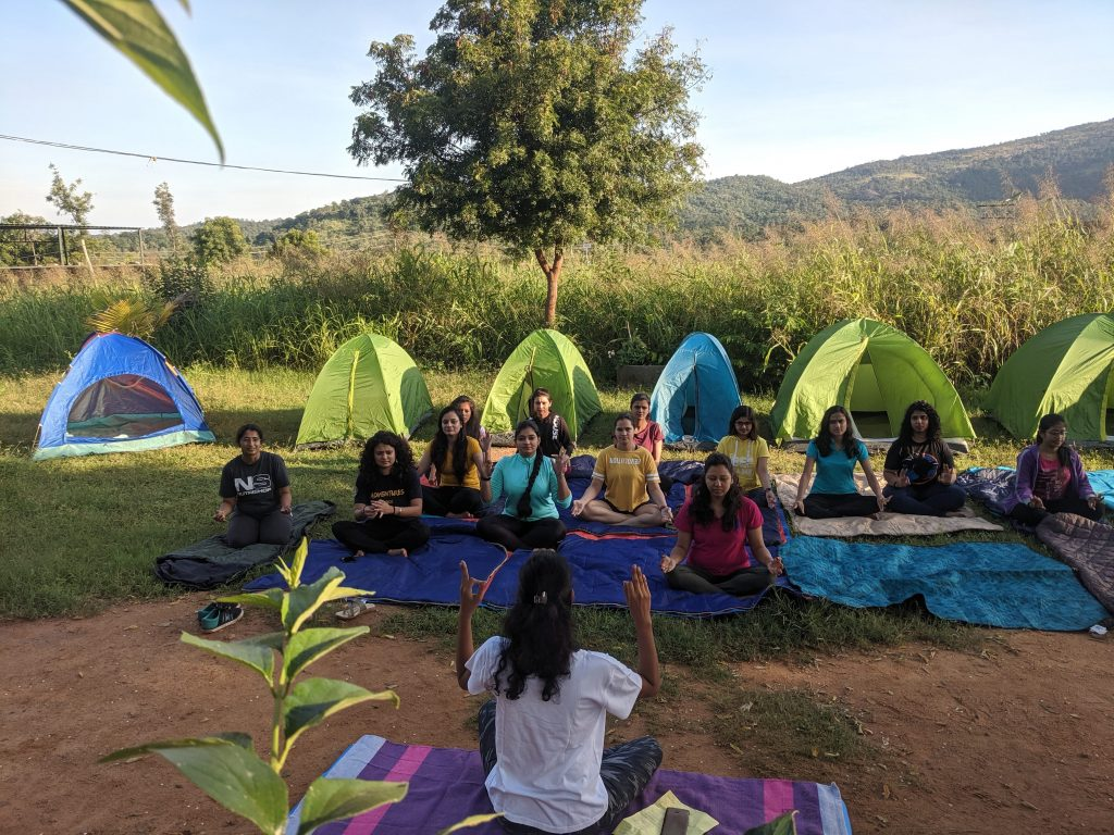 Yoga Session in Women on Adventure