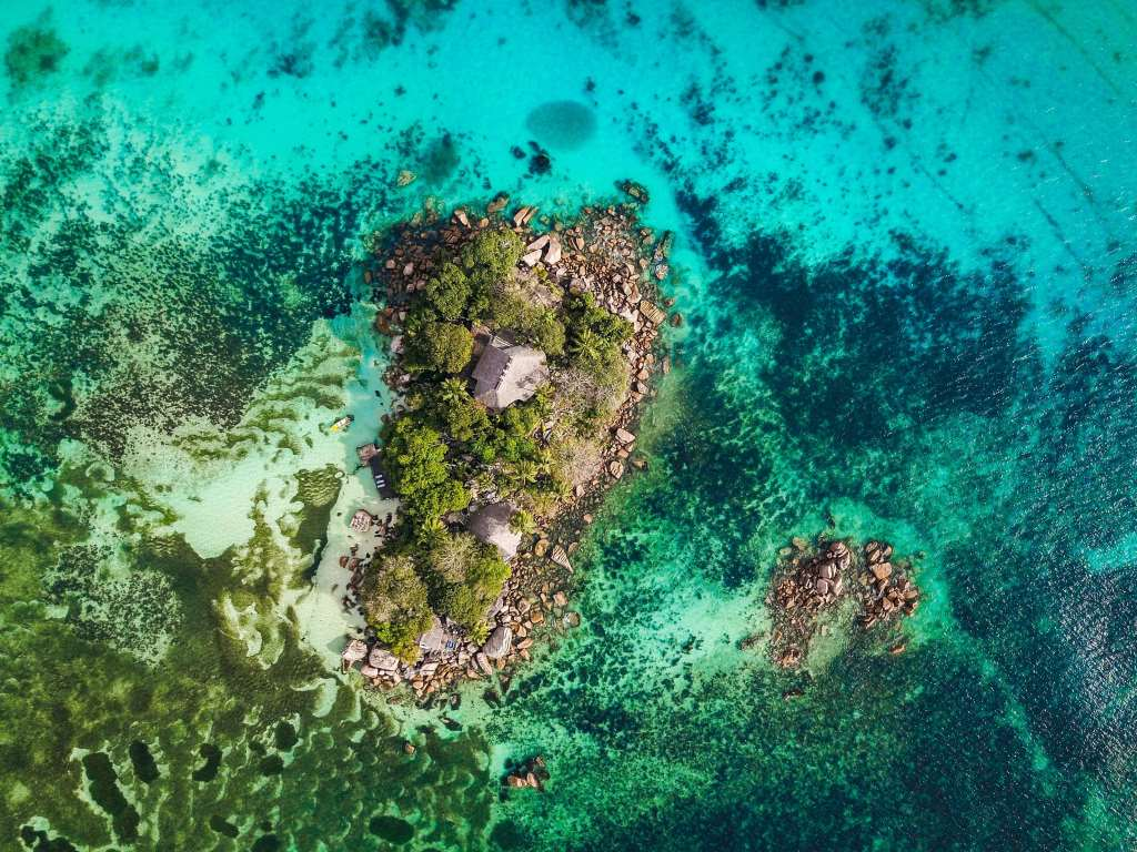 Top view of a island in seychelles