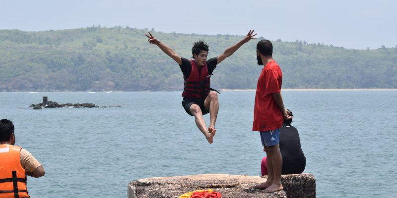 Cliff diving at Belekan beach