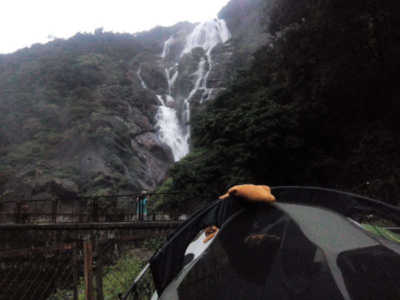 camp view of the waterfalls